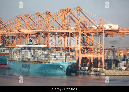 Maersk container ship berthing at Salalah Oman Middle east - Stock Photo