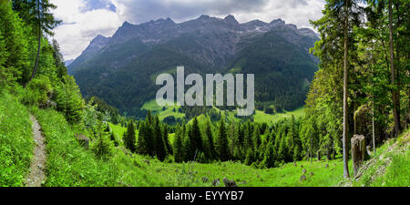 view onto the Hornbach Ranges, Austria, Tyrol, Lechtaler Alpen - Stock Photo