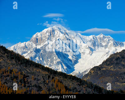 Mont Blanc, view from Valsavarenche in the Aosta valley, Italy, Gran Paradiso National Park - Stock Photo