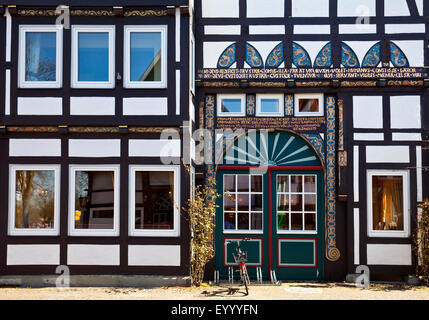 timber-framed vestibule house in the historic old town of Wiedenbrueck, Germany, North Rhine-Westphalia, East Westphalia, - Stock Photo