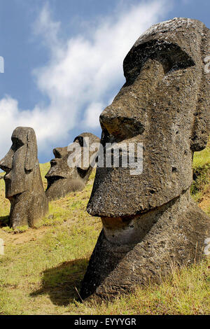 Moai statues, Chile, Rapa Nui National Park - Stock Photo