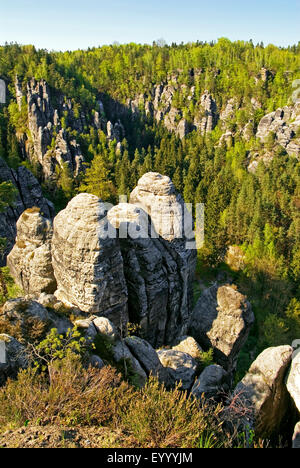 rock formation of Elbe Sandstone Mountains, Germany, Saxony, Saxon Switzerland National Park - Stock Photo