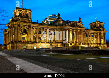 Reichstag building at night, Germany, Berlin - Stock Photo