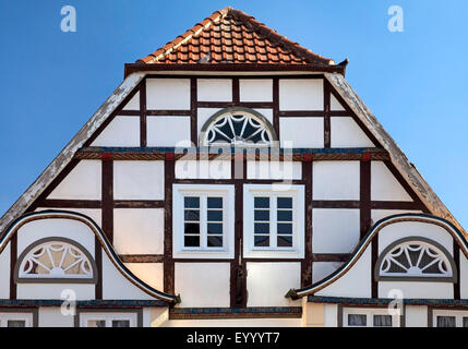 gable of a historic house in Rietberg, Germany, North Rhine-Westphalia, East Westphalia, Rietberg - Stock Photo
