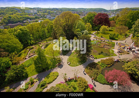view from the Elisen Tower in the Botanical Gardens Wuppertal in spring, Germany, North Rhine-Westphalia, Wuppertal - Stock Photo