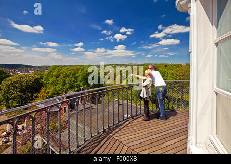 couple admiring the view from the Elisen Tower on the Botanical Gardens of Wuppertal, Germany, North Rhine-Westphalia, - Stock Photo