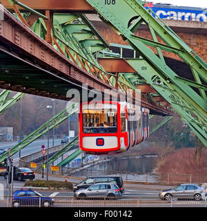 Wuppertal Suspension Railway, traffic and , Germany, North Rhine-Westphalia, Bergisches Land, Wuppertal - Stock Photo