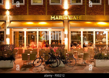 Marktcafe in Muenster, Germany, North Rhine-Westphalia, Muensterland, Munster - Stock Photo