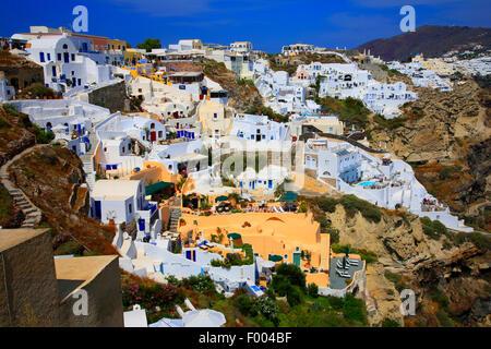 view to Thira, Greece, Cyclades, Santorin, Thira - Stock Photo