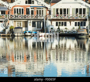 Henley on Thames riverside houses in the early morning sunlight. Oxfordshire, England - Stock Photo