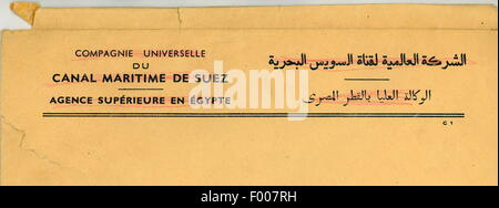 The letterhead of the now defunct Compagnie Universelle du Canal Maritime de Suez, founded in 1869 by Ferdinand - Stock Photo