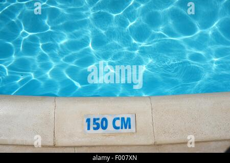 Swimming Pool Depth Safety Sign - Stock Photo