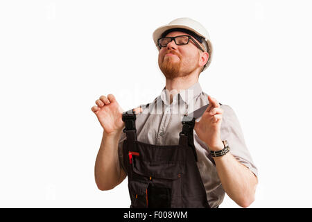 Very Proud Man in Construction Site Clothes - Stock Photo