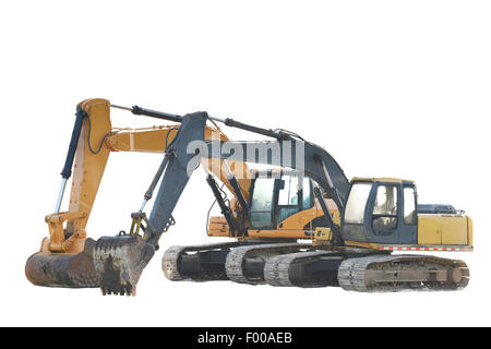 Two big excavators isolated on a white background - Stock Photo