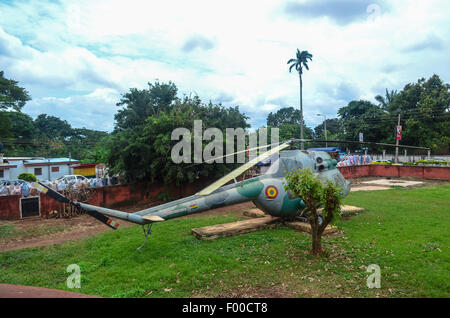 War helicopter in the backyard of the Armed Forces museum of Kumasi, Ghana - Stock Photo