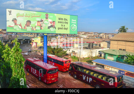 Aerial view of Kumasi, Ghana, with an ad of a cellphone operator - Stock Photo