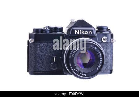 PANAMA, PANAMA - AUGUST 3, 2015:  The Nikon FE is an advanced semi-professional level, interchangeable lens, 35 - Stock Photo
