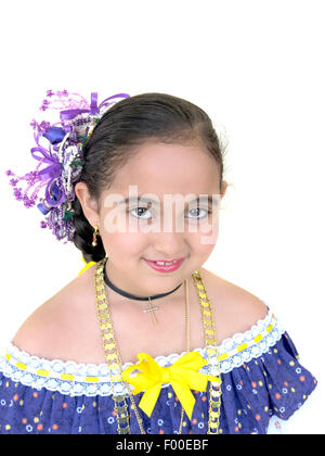 Beautiful young girl wearing the National Costume Dress of Panama isolated on a white background - Stock Photo