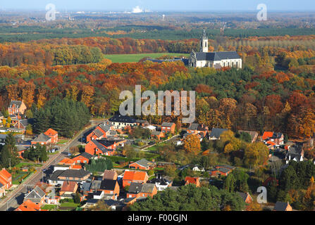Abbey of Averbode, forest from the air in autumn, Belgium, Averbode - Stock Photo