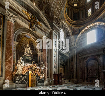 Side view of the tomb of Pope Alexander VII in the south transept of St. Peter's Basilica, Vatican City. Italy - Stock Photo