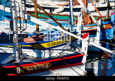 Europe, France, Var, Saint-Tropez. Traditional fishing boat, named 'pointu' in the old port. - Stock Photo