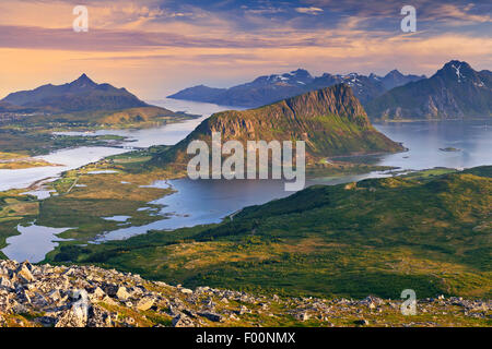 Norway. View of  Lofoten Islands, located in Norway, taken from Holadsmelen, during summer sunset.