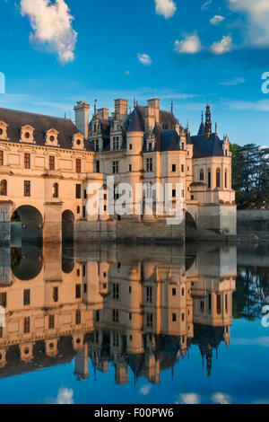 First light of morning on Chateau de Chenonceau, Indre-et-Loire, Centre, France - Stock Photo