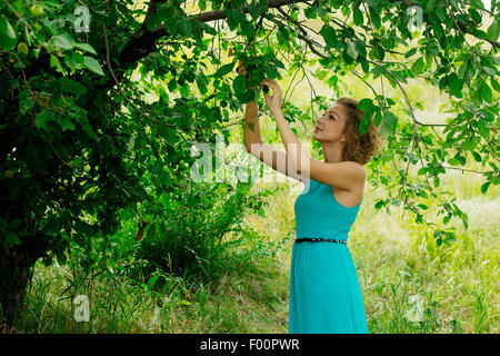 Young woman in blue dress standing under apple tree horizontal selective focus