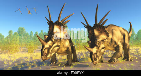 A flock of Pterodactylus reptiles fly over two Styracosaurus dinosaurs during the Cretaceous Period of Alberta, - Stock Photo