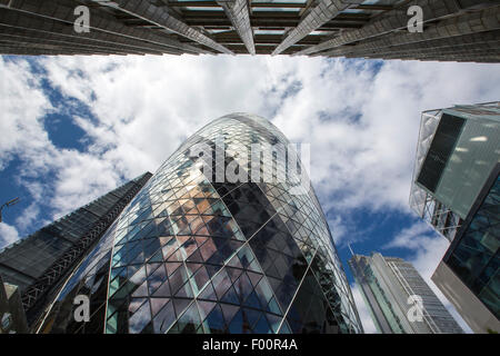 The Swiss Re Tower and Leadenhall Building in the City of London. - Stock Photo