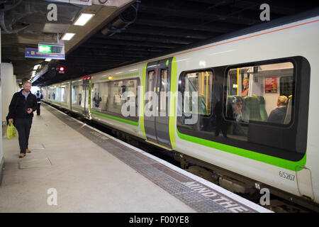 london midland train on the platform at birmingham new street station england uk - Stock Photo