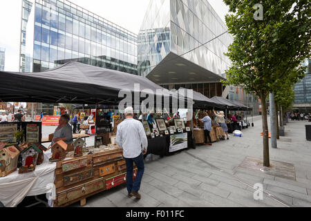 saturday artisan food and craft market in Spinningfields Manchester England UK - Stock Photo