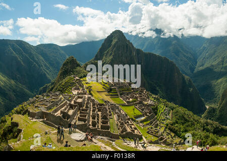 Inca Ruins of Machu Picchu from the Guardhouse, Peru - Stock Photo