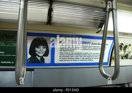 New York Transit Museum carriage subway vintage subway 1961; grey gray livery vintage adverts hand grip straps miss - Stock Photo