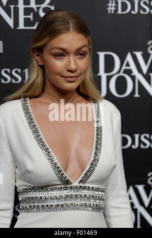 Sydney, AUSTRALIA - August 05, 2015: Supermodel Gigi Hadid, on-again-off-again girlfriend of Aussie Cody Simpson - Stock Photo