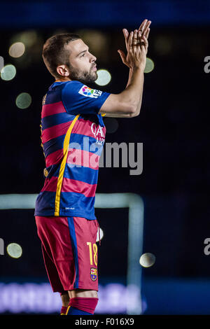 Barcelona, Catalonia, Spain. 5th Aug, 2015. FC Barcelona's left back JORDI ALBA is presented to the fans ahead of - Stock Photo
