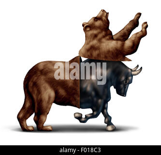 Bull market economic recovery financial business concept as a bear opening up and revealing an emerging bullish - Stock Photo