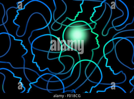 Social psychology concept as a group of connected network of people icons with one individual brain illuminated - Stock Photo