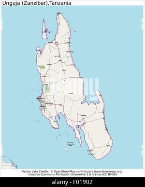 Unguja Zanzibar Tanzania city map aerial view - Stock Photo