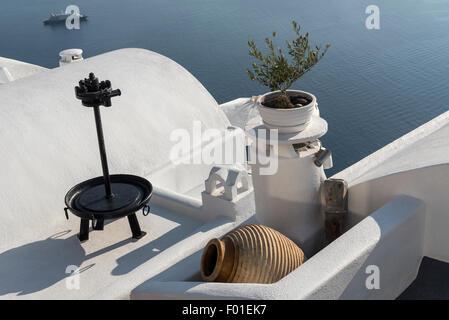 Firostefani Still life, Santorini, Greece - Stock Photo