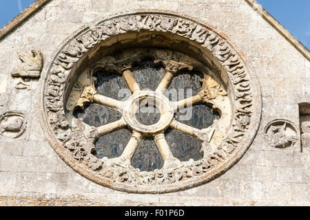 England, Barfrestone. Norman carvings. Church of St Nicholas, 12th century English church, south-east view showing - Stock Photo