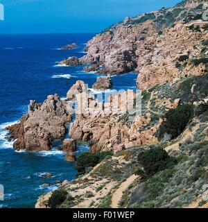 The rocky coast of Costa Paradiso (Paradise Coast), Sardinia, Italy. - Stock Photo