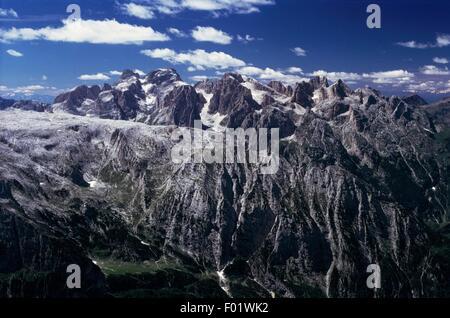Massif of the Pale di San Martino, Dolomites (UNESCO World Heritage List, 2009), Trentino-Alto Adige, Italy. - Stock Photo