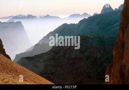 Sunrise seen from bivouac Brunner (or the King of Saxony's hunting lodge), Paneveggio-Pale di San Martino Nature - Stock Photo