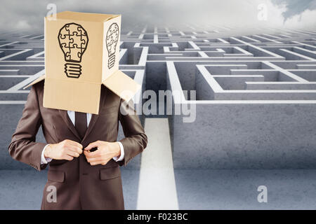 Composite image of anonymous businessman buttoning his jacket - Stock Photo