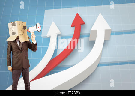 Composite image of anonymous businessman holding a megaphone - Stock Photo