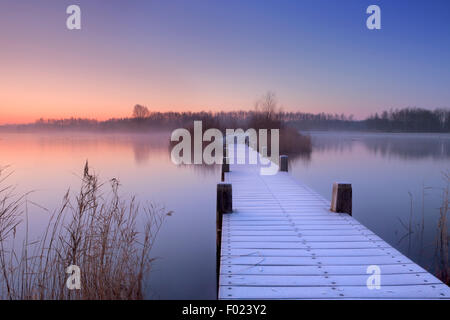 A quiet lake in The Netherlands with a boardwalk on an early morning. - Stock Photo