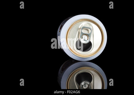 an open drink tin lying down on an polished tile - Stock Photo