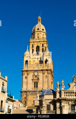 Tower, Catedral, the Cathedral church, Plaza del Cardenal Belluga square, old town, Murcia, Spain - Stock Photo