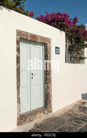 Firostefani Door, Santorini, Greece - Stock Photo